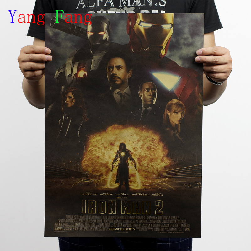 Vintage poster painting iron Man bar counter adornment kitchen retro kraft paper posters,Movie poster Wall stickers 51x35.5cm