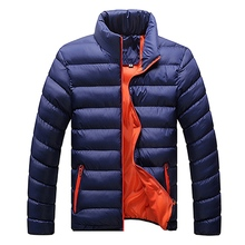 Plus Size 2017 Winter Warm Fashion Mens Windproof Stand Collar Zipper Cozy Cotton Jacket Casual Coat Solid Outwear Down Coats