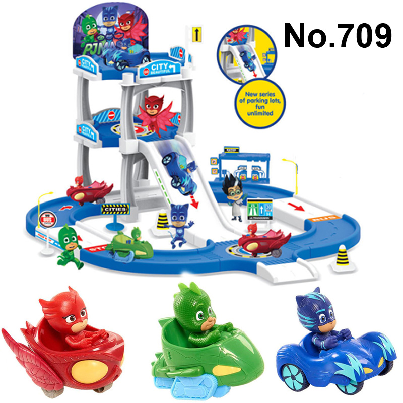 Pj Cartoon PJ Masks Command Center Car Parking Toy Lot Car Characters Catboy Owlette Gekko Masked Figure Toys Kids Party Gift new in box toy story spaceship command center playset nice gift