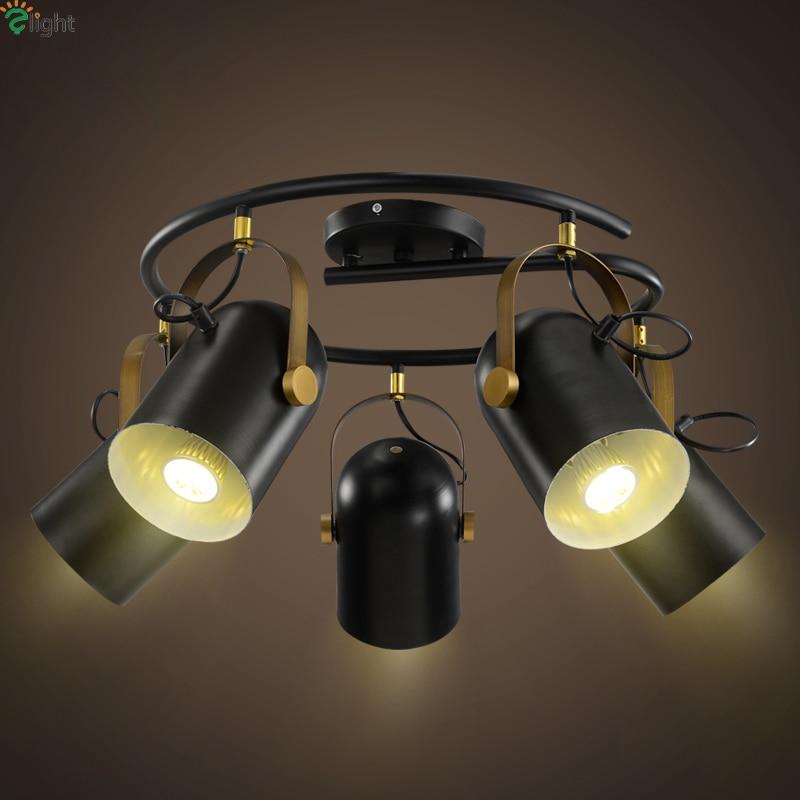 Современный простой поворотный свет потолка блеск черного металла Лофт LED Потолочные светильники Потолочный светильник бар обеденный Свет