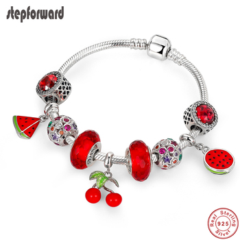 STEP FORWARD 100% 925 Sterling Silver Watermelon Cherry Crystal Star Ball Charm Bracelet & Bangle Woman Silver Jewelry WLB047