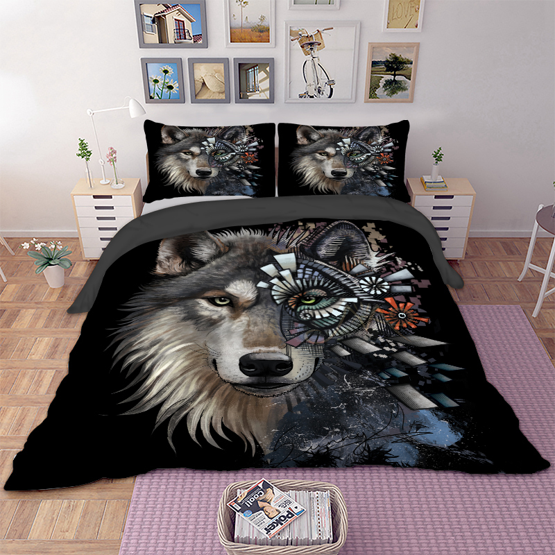 Cartoon Wolf Printed Bedding Set Animal Duvet Cover Cover Set Bed Cover With Pillow Cases Home Textile 3pcs Bedclothes Bed Set