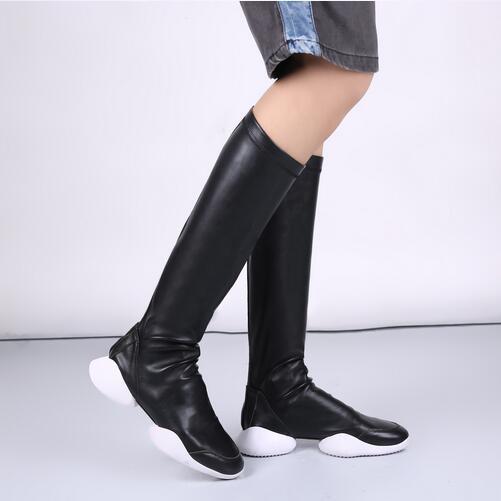 где купить 2017 New Designer Women Booties Slip On Plain Black Leather Women's Platform Shoes Casual Mid Calf Strech Boots Big Size 45 46 по лучшей цене