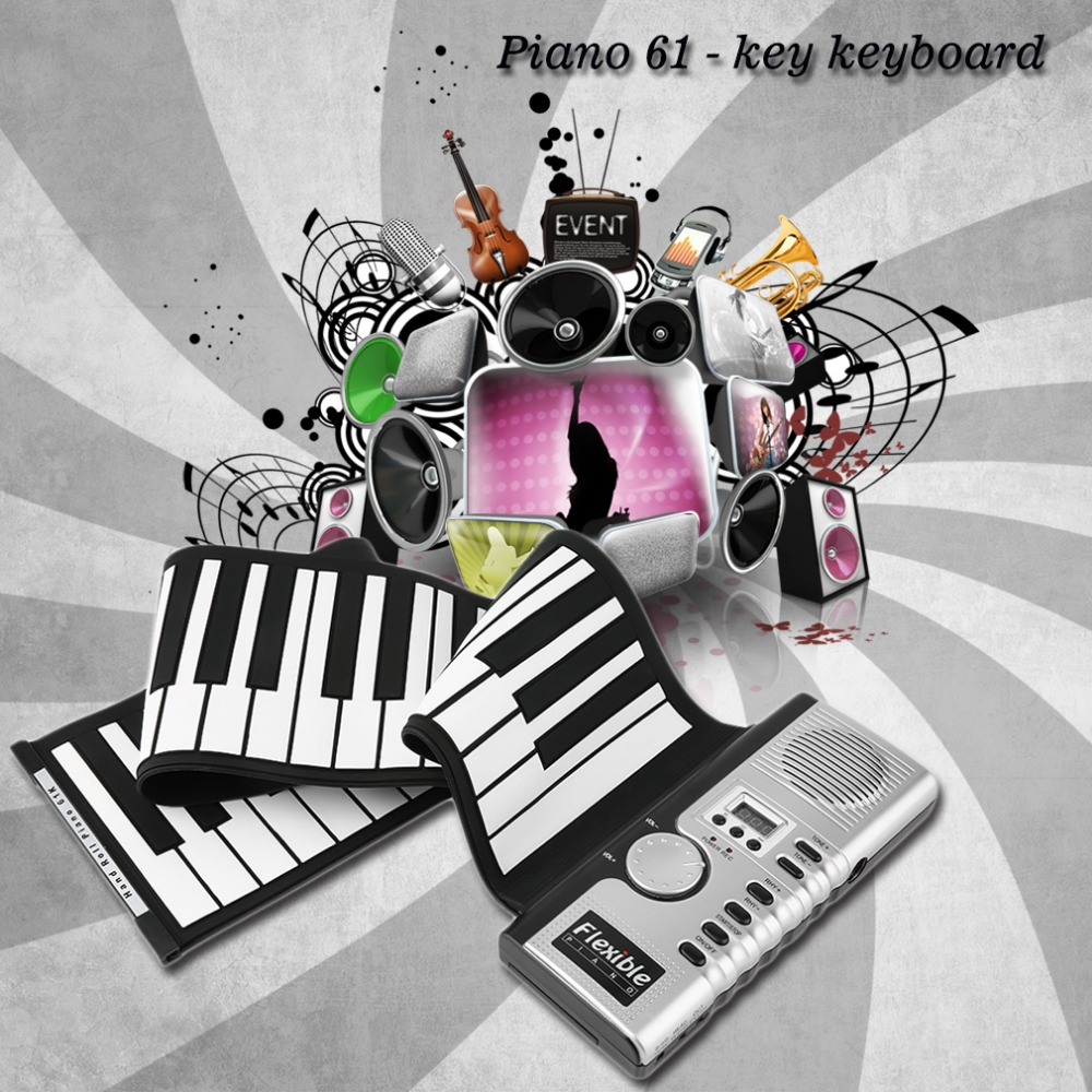 2017  New 61 Keys Universal Flexible Roll Up Electronic Piano Black And White Soft Keyboard Piano Free Shipping Drop Shipping