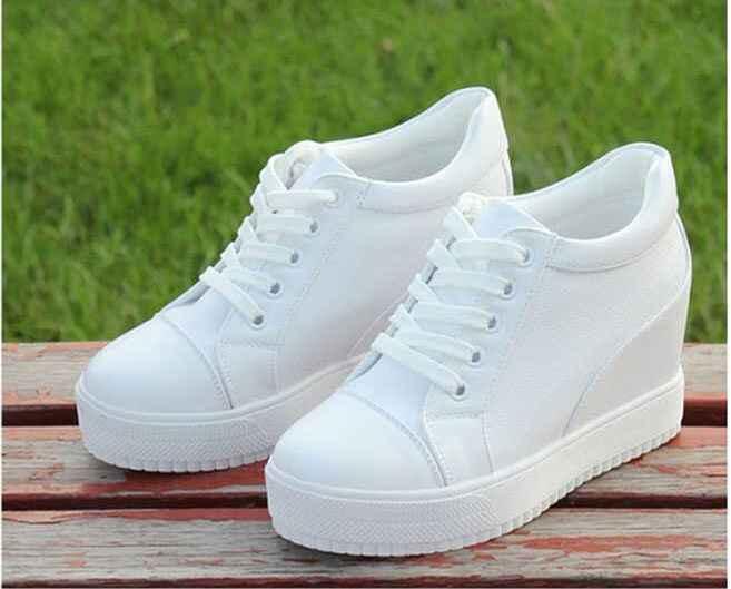 Siyah beyaz gizli kama topuklu ayakkabı rahat ayakkabılar kadın yüksek platform ayakkabılar kadın yüksek topuklu takozlar ayakkabı kadınlar için