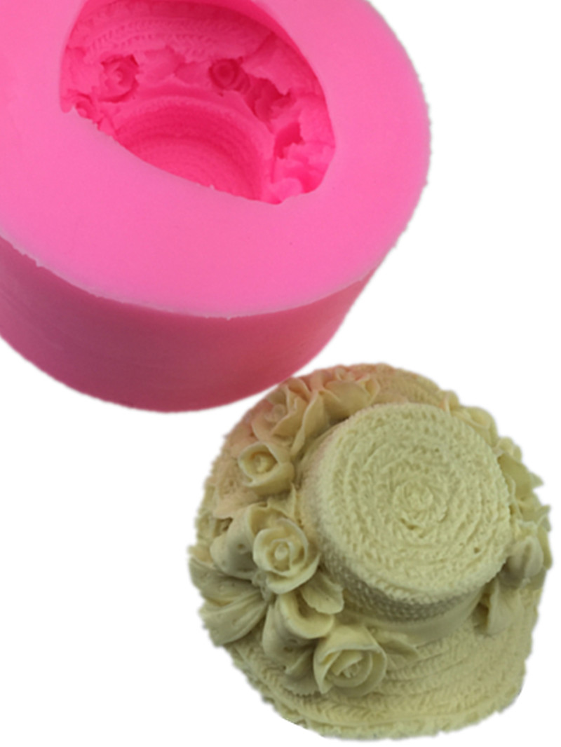 Rose straw hat handmade soap silicone sugar mould DIY cake decoration Soap Making Silicone Mold