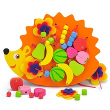 SUKIToy Wooden Threading Toys Hedgehog Lacing Beads Fruit Learning Kids Gift Educational Soft Montessori children intelligent