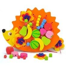 Sukitoy деревянной резьбы игрушки Ежик шнуровка бусы фрукты обучения детей подарок развивающие мягкие Монтессори дети интеллектуальные