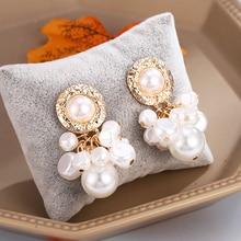 HOCOLE Korean Pearl Dangle Earrings For Women  2019 Trendy Gold Freshwater Geometric Drop Earring Statement Jewelry Za