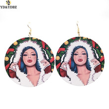 YD&YDBZ 2019 New Earring For Women Drop Earrings Jewelry Sexy Girls Accessories Round Wood Big Fashion Punk Style Gifts