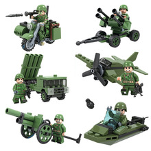 Winner 6set/lot 8014 Tank Army Military Building Bricks Blocks Minifigures Soldiers Guns Figures Compatible With Legoe Kids Toys