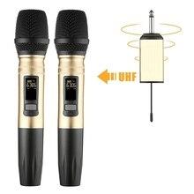 Ux2 Uhf Беспроводная микрофонная система ручной светодиодный микрофон Uhf динамик с портативным usb-приемником для Ktv DJ речевой усилитель запись