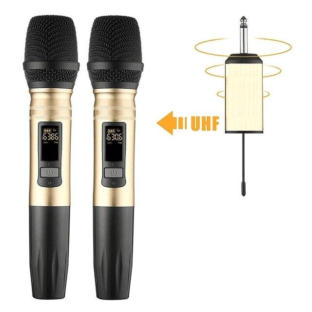 Ux2 uhfワイヤレスマイクシステムハンドヘルドledマイクuhfスピーカーポータブルusbレシーバーktv dj音声アンプ記録