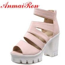 ANMAIRON New Arrivals White Shoes Woman High Heels Fashion Open Toe Summer Sandals Women Pumps Casual Shoes Platform Sandals