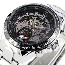 Nuevo ganador Relojes Relojes de marca más Mens Classic de acero inoxidable de viento esquelético mecánico de moda cruz reloj