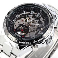 New WINNER Uhren Uhren Marken Mens Classic Edelstahl Selbst Wind Skeleton Mechanischen Uhr Art Armbanduhr-in Mechanische Uhren aus Uhren bei