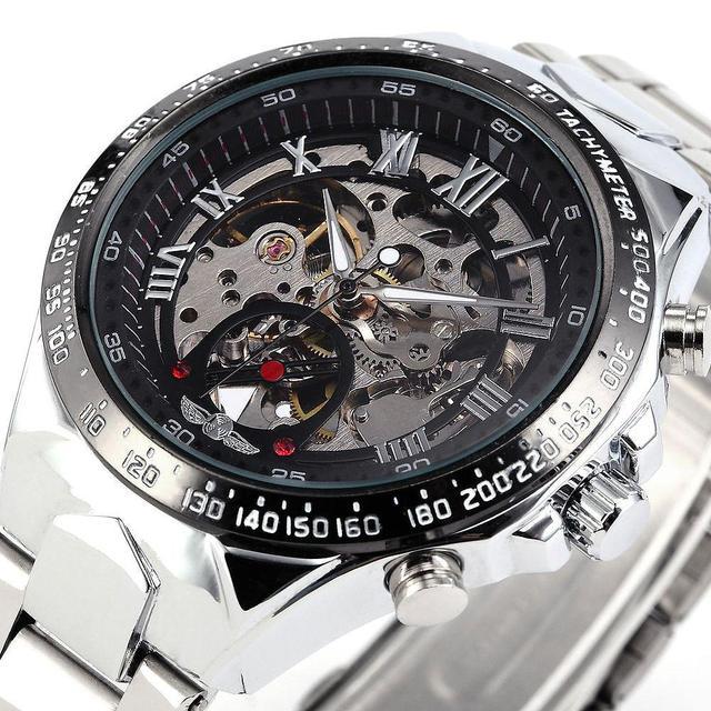 Novo vencedor aço inoxidável Relojes relógios de marca dos homens clássico auto vento esqueleto de relógio mecânico moda relógio de pulso