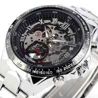 Nowy zwycięzca Relojes zegarki Top markowe męskie klasyczny ze stali nierdzewnej własny wiatr szkielet mechaniczny zegarek moda krzyż zegarek
