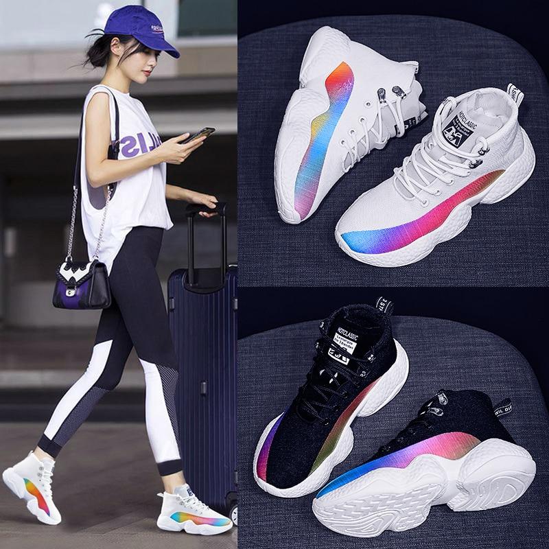 Women Sneakers Female Korean Version Color Thick Bottom White Black Ladies Casuals Footwear Women Run Shoes 19