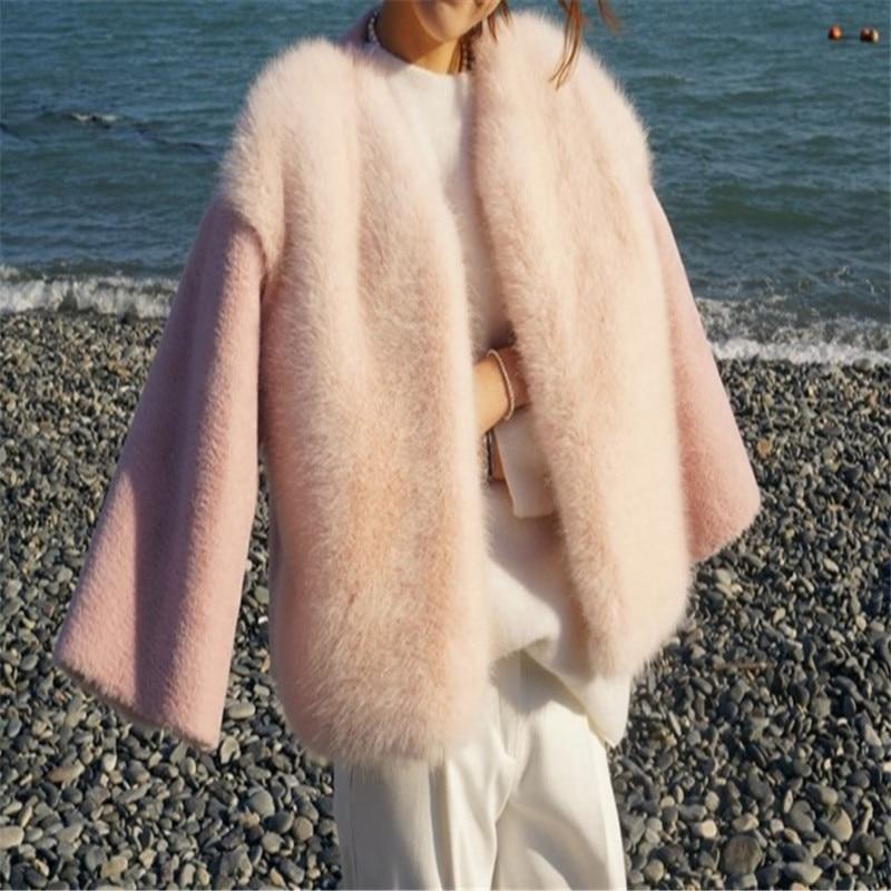 2019 Yeni Kış Kadın Kürk Kore Tarzı Pembe Güzel Moda En - Bayan Giyimi - Fotoğraf 5