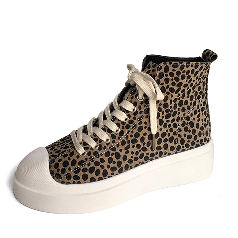 Moxxy Leopard Shoes Woman High Top Sneakers Women Print Flats Casual Shoes Suede Plush -4201