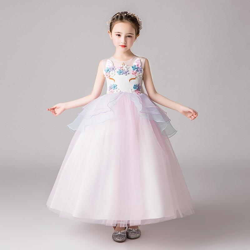 it's YiiYa Flower Girl Dress for Wedding Applique Unicorn Tulle Flower Girl Dress Tank Kid Party Communion Dress 2019 CK2977