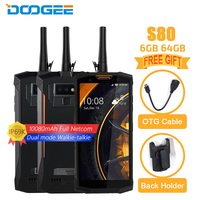 Doogee S80 Mobile Phone 5.99 inch 6GB+64GB Helio P23 Octa core Android 8.1 16MP 10080mAh Digital Walkie talkie NFC Smartphone