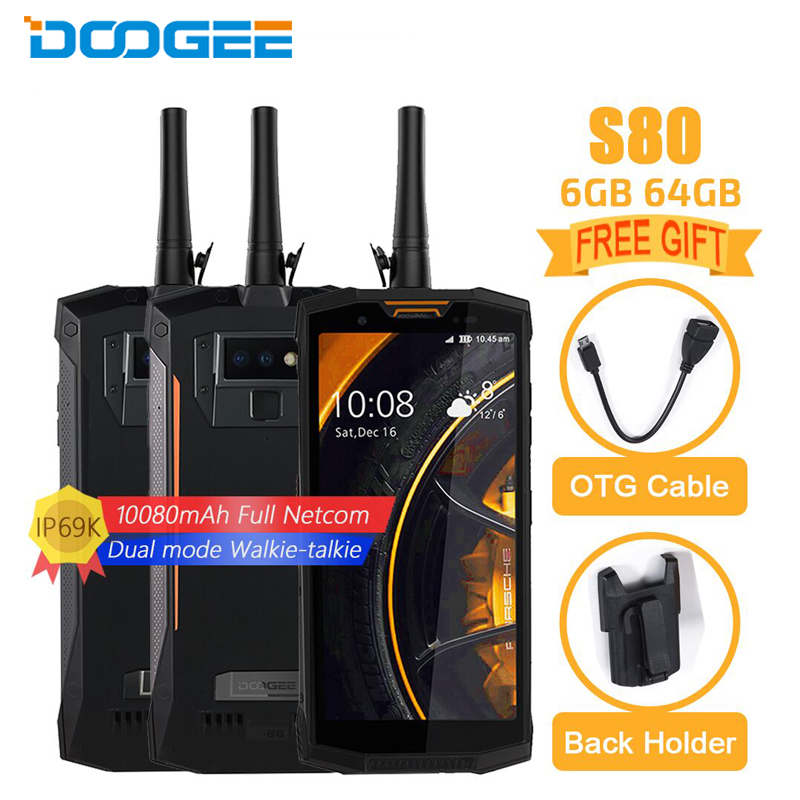 Doogee S80 Mobile Del Telefono 5.99 pollice 6 gb + 64 gb Helio P23 Octa-core Android 8.1 16MP 10080 mah Digital Walkie-talkie NFC Smartphone