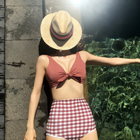 2019 Two Pieces Set Sexy Korean Style Fashionable Plaid Bikini Swimsuit Fashion Swimwear Suits Beach Bathing Suits for Wemen
