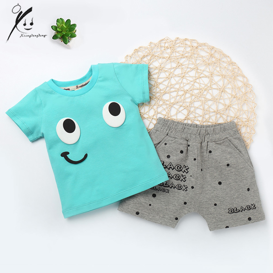 Baby Boys Girls Clothing Sets Smile Print Summer Children 2pcs Toddler Clothes Kids Sports Suits Clothes For 3 Years XDD-E2017