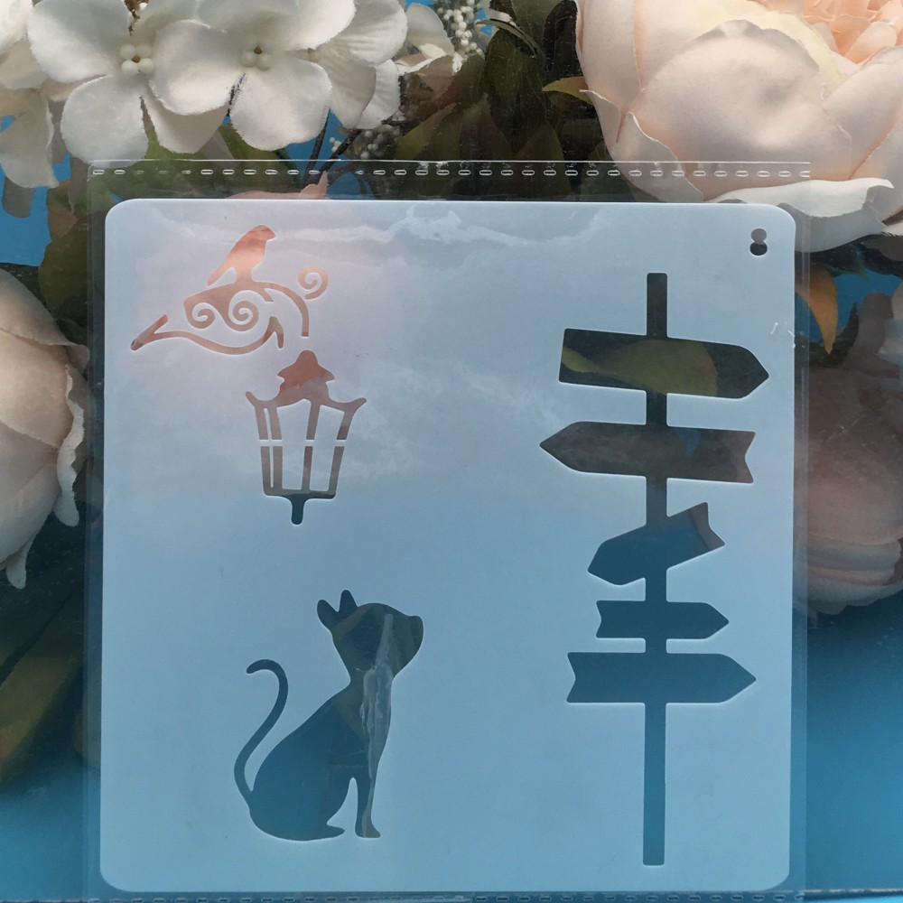 1Pcs 13cm Cat Road Sign DIY Layering Stencils Wall Painting Scrapbook Coloring Embossing Album Decorative Card Template