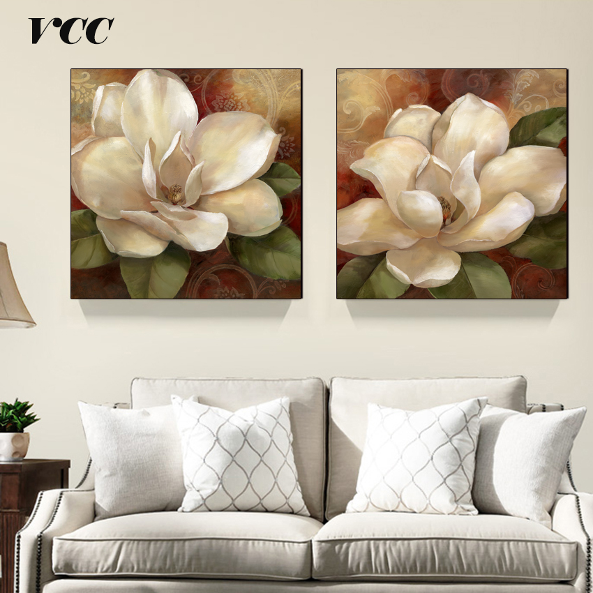2Pcs / Set Wall Art Canvas Painting, Canvas Prints Wall Pictures para la sala de estar Wall Painting Flower, imagen decorativa
