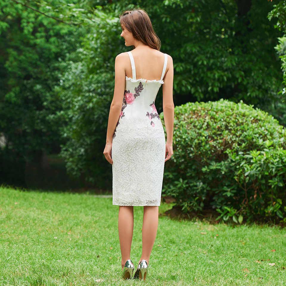 Vestido de cóctel de marfil vestido elegante con correas de encaje sin mangas hasta la rodilla vestido formal de fiesta de boda vestidos de cóctel