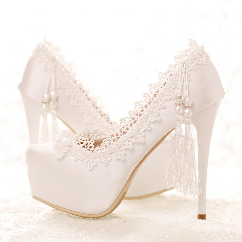 Sweetness Spring and Summer Lady High Heels Wedding Party Satin Shose White Lace Bridal  ...