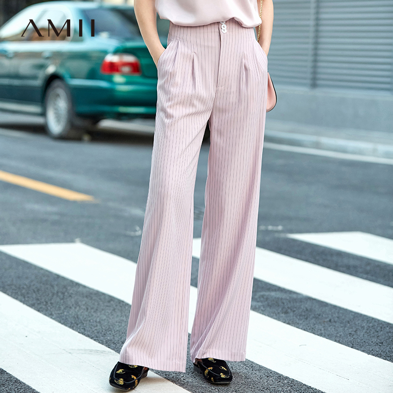 Amii Minimalist Stripe   Wide     Leg     Pants   Women Spring 2019 New Office Loose Empire Female Long   Pants