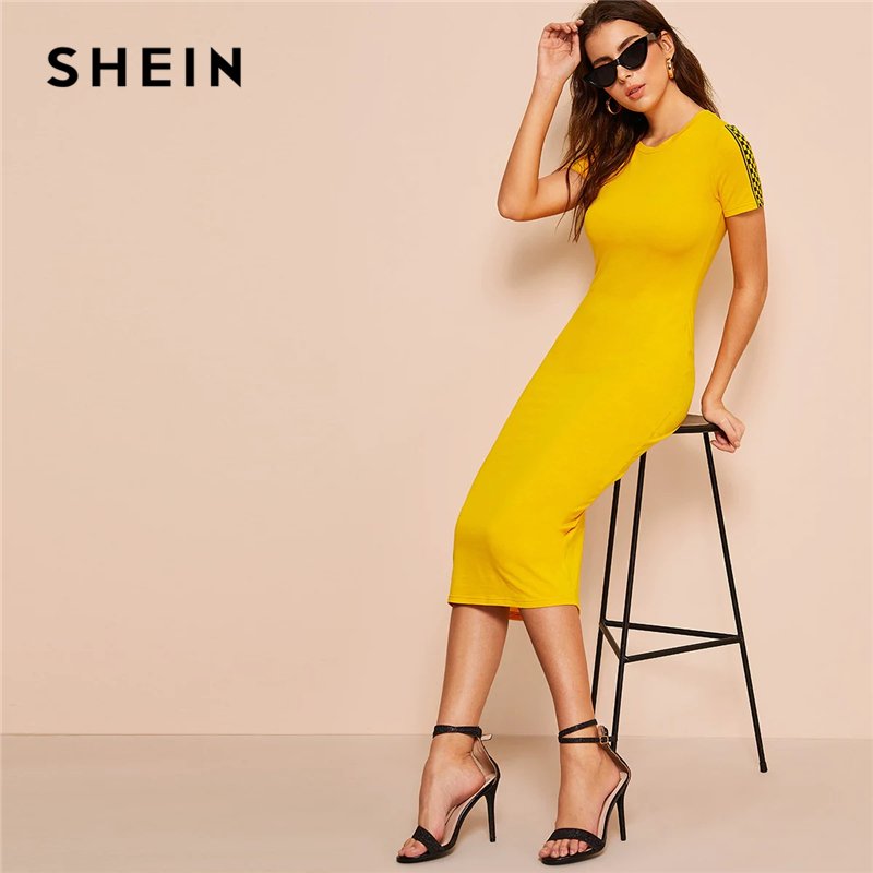 Шеин проверено печати рукавом Bodycon платье 2019 Glamorous Золотой плед короткий рукав для женщин эластичный летнее облегающее платье