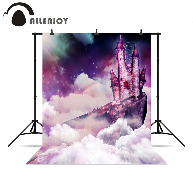 Allenjoy photography backdrops Castle Wonderland Kids Clouds light sky stars background for photo shoots Photophone allenjoy photography background lovely clouds cotton hearts stars rainbow backdrop photo studio camera fotografica