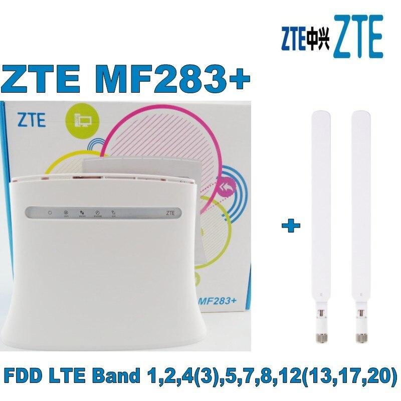 ZTE MF283+ LTE/4G Wireless Wi-Fi Router Hotspot- 100 Mbps White+2PCS 4G White antenna