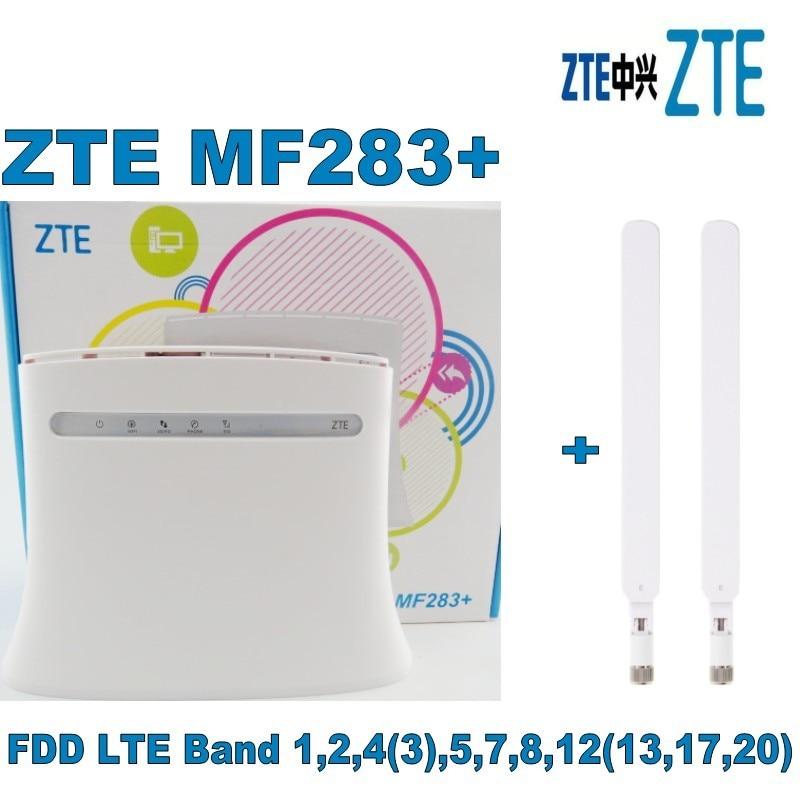 ZTE MF283 + LTE/4G Sans Fil Wi-Fi Routeur Hotspot-100 Mbps Blanc + 2 PCS 4G blanc antenne