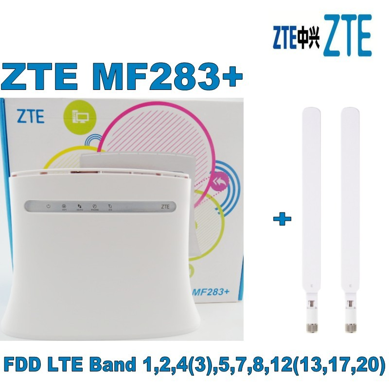 ZTE MF283+ LTE/4G Wireless Wi-Fi Router Hotspot- 100 Mbps White+2PCS 4G White antenna