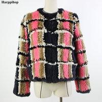 Новое пальто из натурального кроличьего меха вязаный натуральный мех вязаная куртка женская зимняя теплая одежда больших размеров на зака