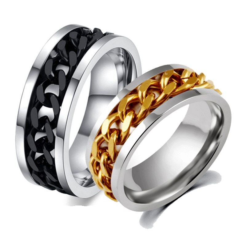 fashion rotation black chain ring for men stainless steel wedding mens ring wholesale bague homme cool - Cool Wedding Rings For Guys