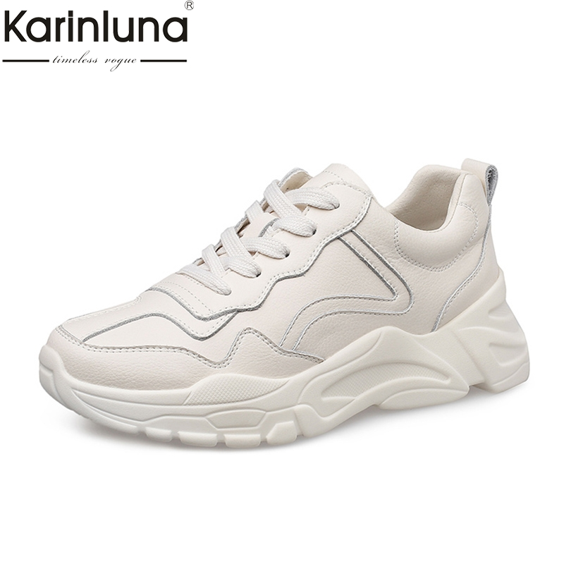 Karinluna INS hot style chunky sneakers shoes woman Lace Up casual spring white genuine leather cow