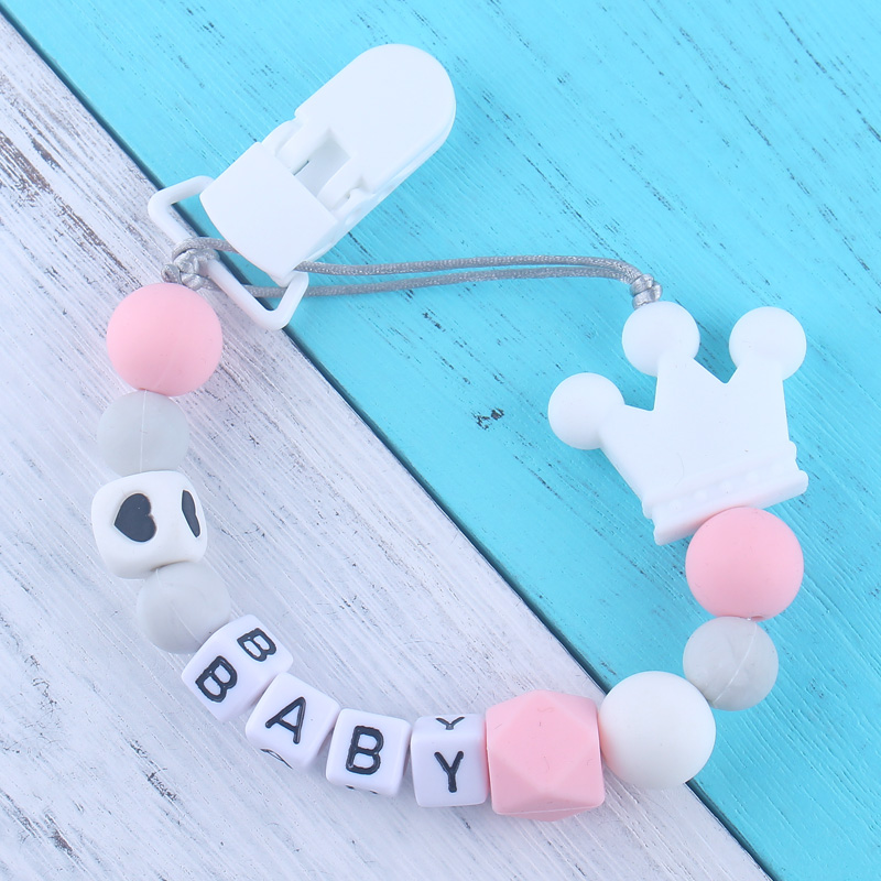 Personalized Name Silicone Teething Baby Pacifier Clips Chain With Safe ABS Silicone Beads Dummy Chain Holder For Nipple