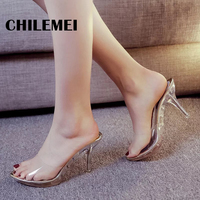 Sexy Transparent Women Sandals Women Pumps Crystal High Heel Platform Shoes Summer Ladies Jelly Shoes Thin