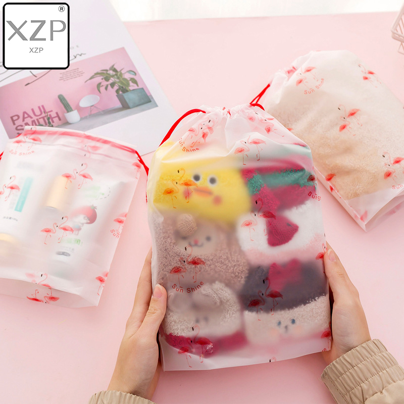 XZP Transparent Cosmetic Bag Flamingo Travel Makeup Case Women Make Up Bath Organizer Storage Pouch Toiletry Wash Beauty Box