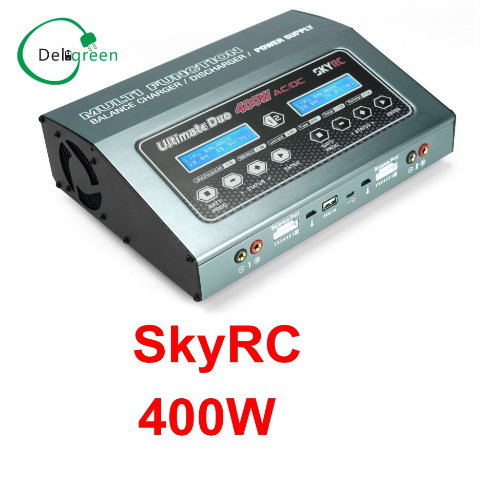 SKYRC D400 Ultimate Duo 400W AC/DC Balance Charger / Discharger / Power Supply Twin-Channel Charger Free Shipping skyrc d200 intelligent twin channel lcd ac dc high power dual balance charger discharger with soldering iron