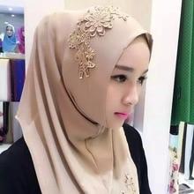 Woman Solid Color Rhinestone Lace Match Shining Sequins Chiffon Silk Popular Shawls Scarf Headband Muslim Scarves Free Shipping
