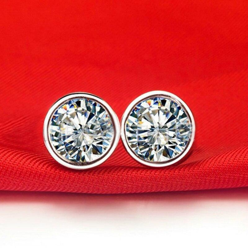 0.5ct AAAAA Zircon cubique boucles d'oreilles rondes CZ 925 en argent Sterling couleur or blanc hommes femmes bijoux de mode