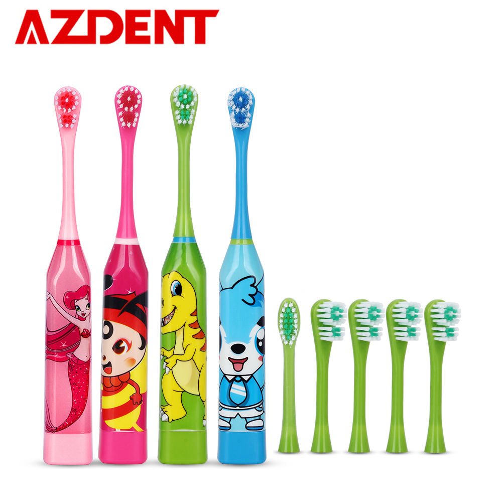 6 pcs Heads Children's Sonic Electric Toothbrush Cute Cartoon Teeth Whitening Toothbrush Soft Bristle Kids Double-sided Brush image